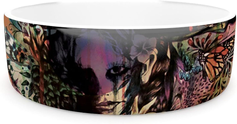 Kess InHouse Mat Miller Doom and Bloom  Pet Bowl, 7Inch, Dark pink