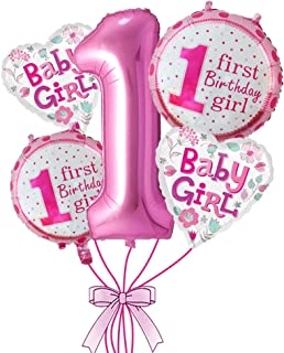 Rozi Decoration 1st Birthday Girl Foil Balloon Set(Pack of 5-Pink)
