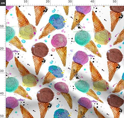 Eis, Garn, Wollknäuel, Wasserfarben, Garndesign Wettbewerb Stoffe - Individuell Bedruckt von Spoonflower - Design von Karismithdesigns Gedruckt auf Baumwollstoff Klassik