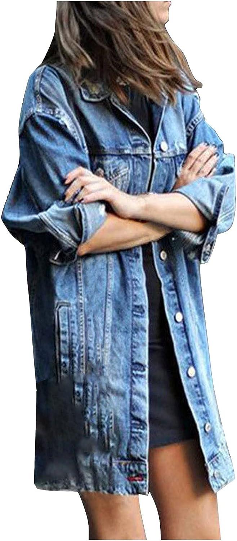 VonVonCo Fashion Cardigan Coat for Women Plus Size Long Sleeve Tops Denim Outcoat Pockets Jean Blouses Outwear