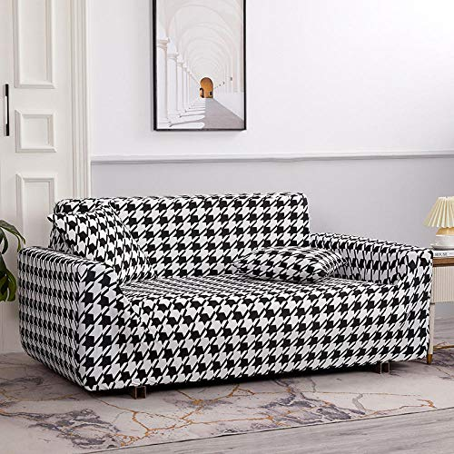 Protector Sofá Ajustables Estampado,Fundas de sofá en Forma de L para Sala de Estar Fundas de sofá elásticas, Funda de sofá Funda de Esquina elástica Chaise-HH 1 Plaza 90-140cm (1 Pieza)