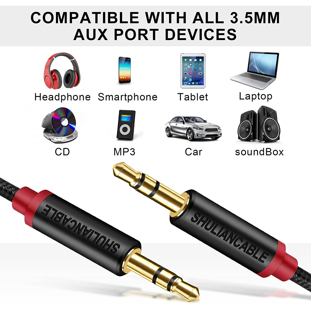 SHULIANCABLE 3.5mm Audio Cable, AUX Cable for Headphones, iPods, Smartphone, iPads, Car Stereos and More (3.3FT/1Meter)