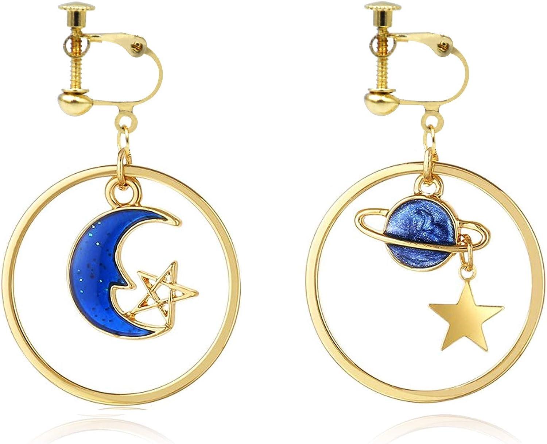 Clip on Earrings for Women Geometric Hoop Earrings Star Moon Dangle Earrings for Girls Non Pierced Ears Lightweight Clip Earrings