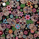 Retro-Mexiko-Stil Blumen & Schädel Stoff, schwarz,