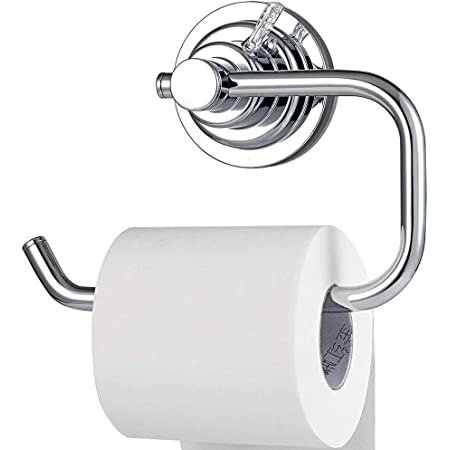 YOHOM Vacuum Suction Cup Bathroom Toilet Tissue Paper Roll Holder and Dispenser
