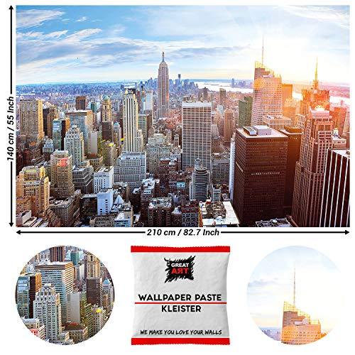 GREAT ART Fototapete New York City Skyline 210 x 140 cm – Penthouse Ausblick Panorama Big Apple Amerika Manhattan Sonnenaufgang Wandtapete – 5 Teile Tapete inklusive Kleister