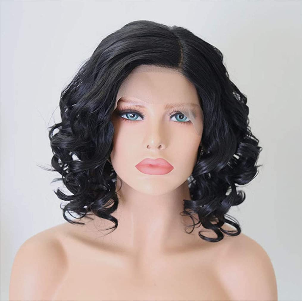 単調なアルミニウムオフセット女性のためのフロントレースウィッグショートヘアナチュラルウェーブのかかった合成繊維ウィッグ黒12インチ