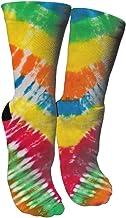 ULQUIEOR Women's Tie Dye Cotton Moisture Wicking Cushion Sport Hiking Working Crew Socks