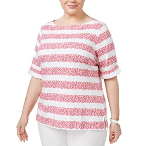 43f73e86 Karen Scott Plus Size Printed Boat-Neck Top in Peony Coral (3X)