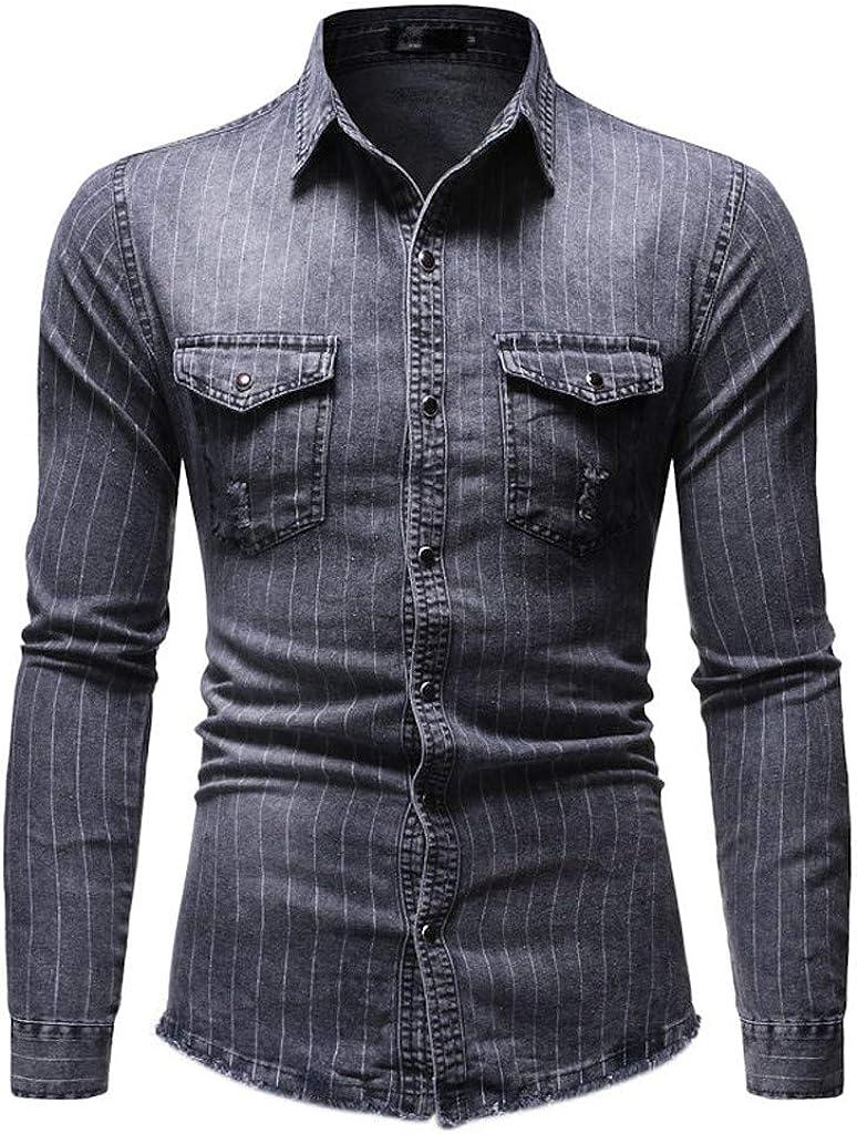 MODOQO Men's Denim Long Sleeve Slim Fit Stripe Casual Button Down Dress Shirt Top