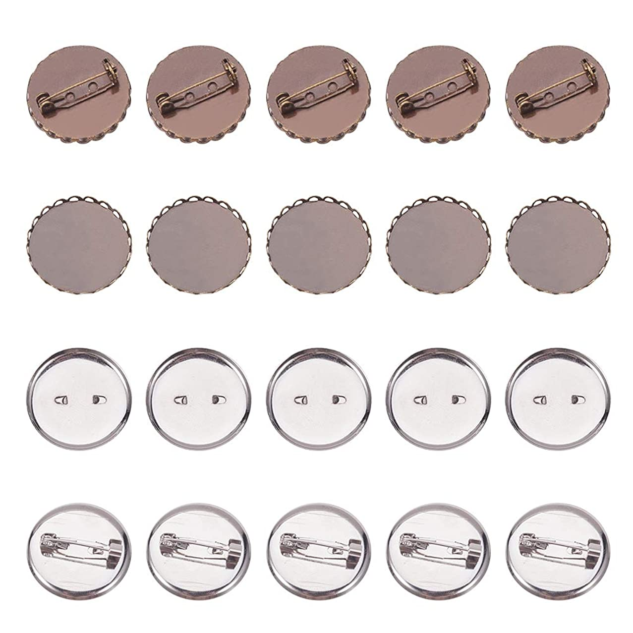 PandaHall Elite 10 pcs 2 Styles 25mm Iron Brooch Clasps Pin Disk Base Pad Bezel Blank Cabochon Trays Backs Bar for Badge Corsage Name Tags Jewelry Craft Making,Antique Bronze/Platinum