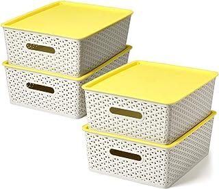 EZOWare Set of 4 Medium Weaved Plastic Basket Bins with Lids, Storage Organiser Box 30 x 23.5 x 12cm for Living Room, Offi...