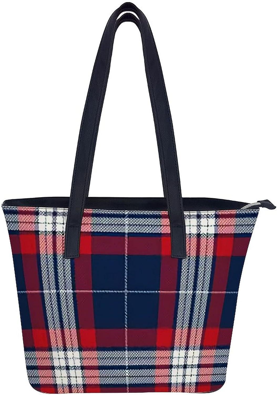 Tartan Scotland Purses and Handbags Women Tote Shoulder Top Handle Satchel Hobo Bags Fashion Washed Leather Purse