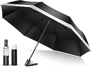 TSUNEO 日傘 折りたたみ傘 ワンタッチ 【完全遮光 UVカット率99%】 8本骨 紫外線対策 UPF50+ 軽量 自動開閉 梅雨対策 晴雨兼用 超撥水 折り畳み日傘 レディース メンズ (ブラック)