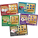 DOUBLE DOWN - Casino Night Fake Scratch Off Cards (5 tickets) - Win $1000 or $5000 - Prank Winning Scratcher Tickets for Casino Theme Party Gags, Games, Jokes & Decorations - Pranks for Adults