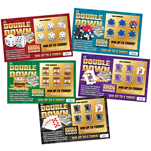DOUBLE DOWN - Casino Night Fake Scratch Off Cards (5 tickets) - Win $1000 or $5000 - Prank Winning...