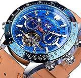 ZFAYFMA Reloj Mecánico Automático Multifuncional Tourbillon con Correa De Cuero con Esfera Hueca Automática para Hombre, Acero Inoxidable Steampunk, Resistente Al Agua Blue