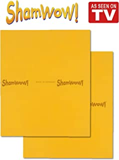 The Original Shamwow - Super Absorbent Multi-Purpose Cleaning Shammy (Chamois) Towel Cloth, Machine Washable, Will Not Scratch, Orange (2 Pack)
