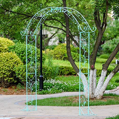F-XW Arcos de metal para jardín de 180 x 30 x 235 cm, arcos de metal enrejados, pérgolas, cenador, arco, arco azul con curva, para patio, terraza, césped, boda, etc.