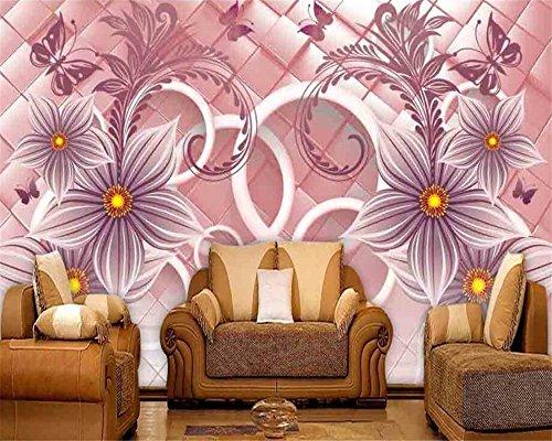 Wnyun 3D Fotobehang - Zijdedoek Premium Behang - Muurmuurdecoratie - Art Design-HD Print-Moder -Tv Achtergrond Cirkel Warm Water Landschap Bloem 450cmx300cm