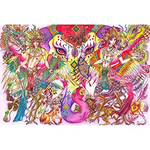 Jigsaw Puzzle 1000 Piece Art, Childhood Favorites Jigsaw Puzzle, Portable Jigsaw Puzzle Board, Intense Colors and High Definition Printing – Bangkok Eudemons (75x50 cm)