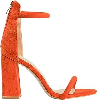 Women's Fashion Strappy High Heel Sandals - Round Open Toe Ankle Strap Block Heels