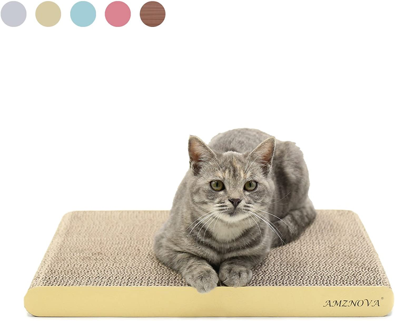 AMZNOVA Durable Cat Scratcher Cardboard, colors Series, Wide, Light Lemon