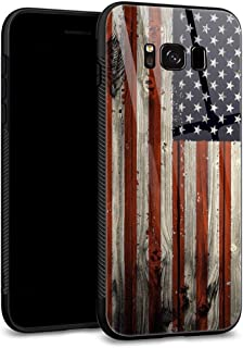 Galaxy S8 Plus Cases, 9H Tempered Glass Back Shell Cool Pattern Designed with Soft TPU Bumper Compatible with Samsung Galaxy S8 Plus Cases -Red Camo American Flag