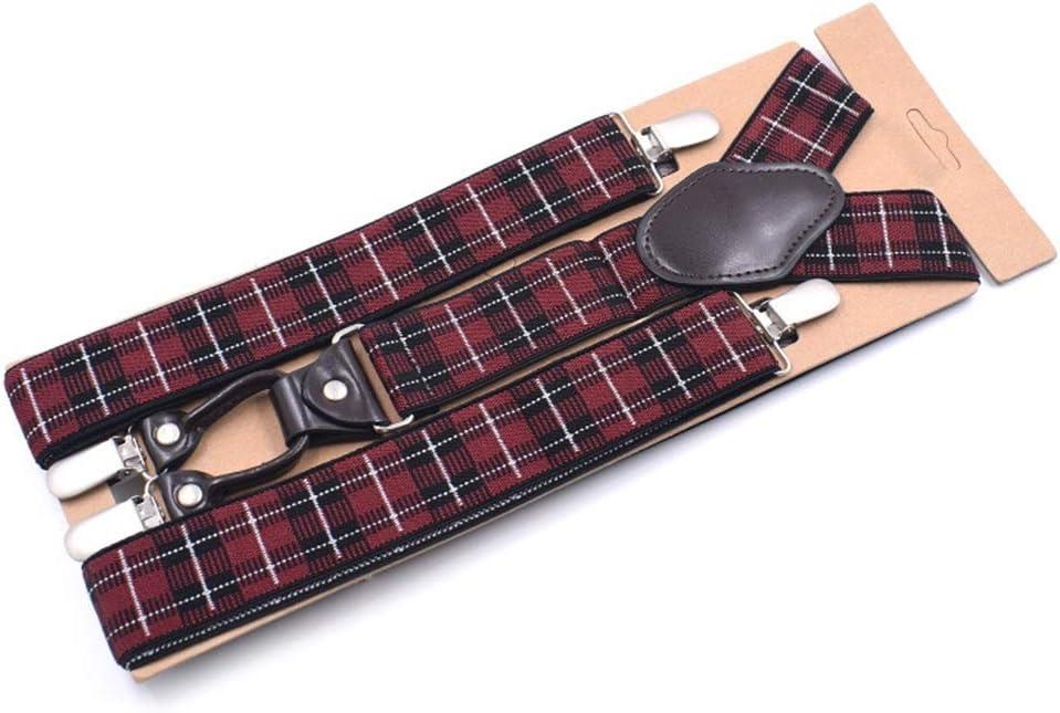Canvas Belt Elastic Adjustable Strap Suspenders with Clip Mens (Color : H)