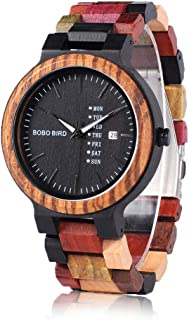 BOBO BIRD Natural Wood Watch Colorful Mens Wooden Watches Week & Date Display Japanese Quartz Movement Chronograph Unique ...