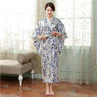 Traditional Japanese Women Yukata Dress Gown Satin Kimono New Floral Performance Dance Clothing Halloween Costume Annacboy...