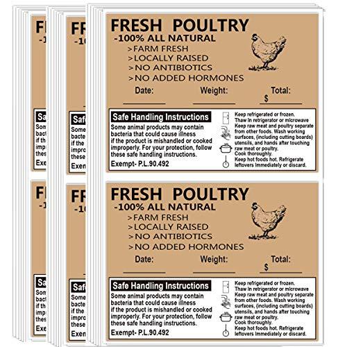 Poultry Freezer Labels, 2.5' x 4' with Safe Handling Instructions Exemption - P.L. 90-492 (100Pcs )