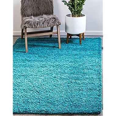 Unique Loom Solo Solid Shag Collection Deep Aqua Blue Plush Area Rug (4' x 6')