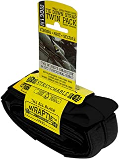 WRAPTIE Quick Tie Down Straps (4 Feet, Black)