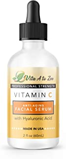 Vita A to Zee 20% Vitamin C Face Serum with Hyaluronic Acid, 2 Fl.Oz | Witch Hazel | Anti-Aging Facial Seru...