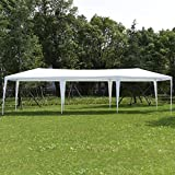 Wenst'sKufAN 10' x 30' Pop Up Outdoor Canopy Tent, Heavy Duty Steel Frame with 6 Removable Sidewalls, Wedding Party Event Tent,White