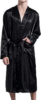 Men' Satin Kimono Robe Silk Classic Long Bathrobe Pockets Lighweight Loungewear