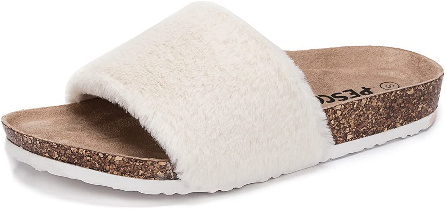 Pescool Womens Faux Fur Flat Slippers Open Toe Fuzzy Slides House Sandals for Women Girls