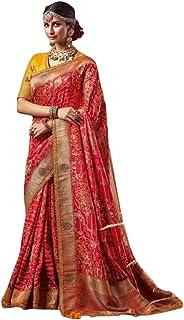 red Indian Woman Wedding Swarovski Pallu Saree Pure Soft Silk Bandhej Weaving Bridal Bandhani Sari Blouse 6246