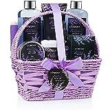 Home Spa Gift Basket, 9 Piece Bath & Body Set for Women and Men, Lavender & Jasmine Scent - Contains Shower Gel, Bubble Bath, Body Lotion, Bath Salt, Scrub, Massage Oil, Loofah & Basket