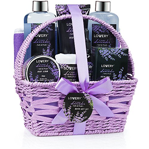 Home Spa Gift Basket, 9 Piece Bath & Body Set for Women and Men, Lavender & Jasmine Scent - Contains...