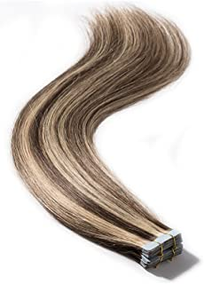 "Tape in Hair Extensions 100% Remy Human Hair 16"" 18"" 20"" 22"" Double Side Tape Seamless Skin Weft Natural Hair Extensions 40pcs Long Straight (18 inch 100g,#4/27 Medium Brown mix Dark Blonde)"