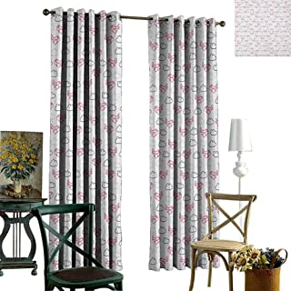 SAMEK Grommet Curtains,Insulated Curtains,Thermal Insulated Lined Drapes for Window,Airplane Navy Blue Pale Blue Hot Pink (Total Length of Two Panels,W96 X L96 -Inch)