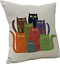 Nunubee Cotton Linen Cat Pillow Cover Home Decorative Throw Pillow Case Printed Cushion Cover