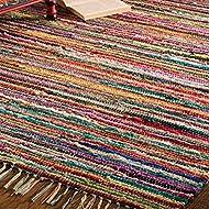 Indian Arts Fair Trade Rag Rug Hand Loom 100% Recycled Materials Multicolour (100 x 164cm)