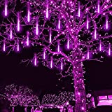 Christmas Icicle Lights Outdoor, Kwaiffeo Meteor Shower Lights for Halloween Decoration Outdoor, Purple Waterproof Rain Lights 12 inch 8 Tube Cascading Lights for Holiday Wedding Party, UL Plug