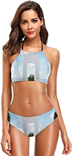 K0k2t0 Women's Printing High Neck Halter Two Piece Bikini Swimsuits,Holiday Villa with Terrace Balcony in Clear Sunny Sky ...