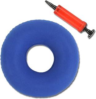 Cojín de Dona Cojín Redondo Coxis Inflable Antiescaras Redondo Almohada Suave con Bomba Tratamiento para hemorroides escaras Dolor de cóccix Dolor perineal Parto cojín Inflable Azul