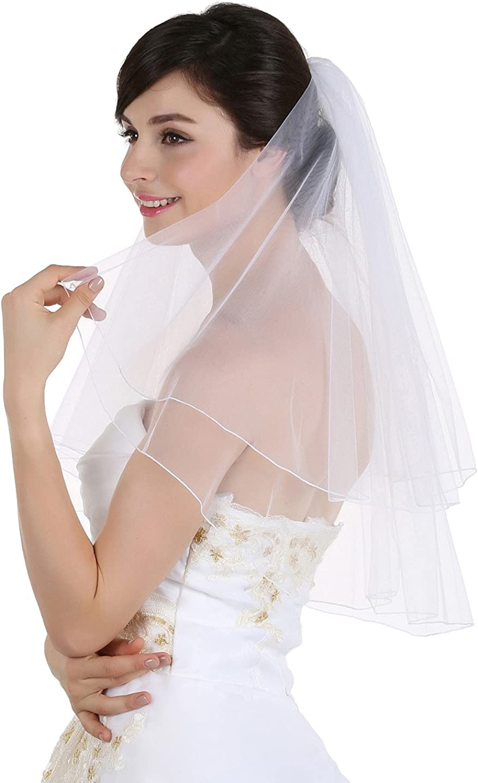 SAMKY 2T 2 Tier Pencil Finished Edge Bridal Wedding Veil