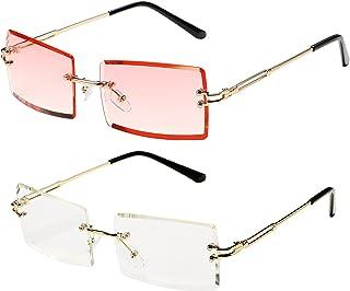 Rimless Rectangle Sunglasses Tinted Frameless Vintage...